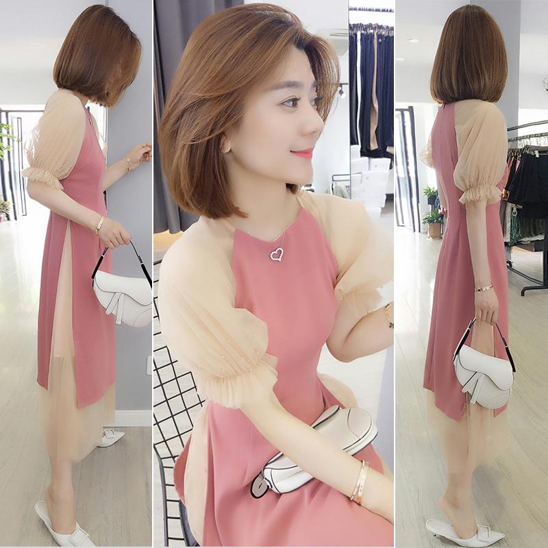 欧洲 夏装 新款 两件 拼接 桔梗 连衣裙
