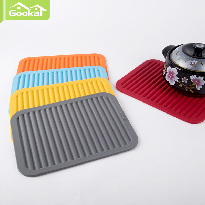 Gooka创意硅胶锅垫 餐垫隔热垫防滑垫沥水垫 杯垫盘垫欧式简约