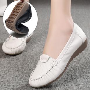 春秋休闲豆豆鞋软底妈妈鞋真皮平底白色护士单鞋女中老年女式皮鞋图片