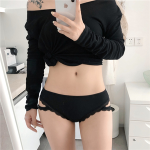 Ice silk seamless panties women summer ultra-thin breathable mesh gauze sexy low waist pack hip strap lace lace girl briefs