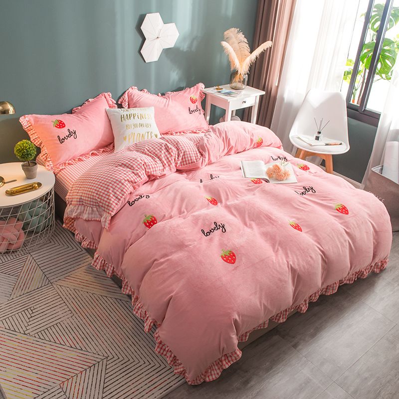 公主风兔兔绒少女床上四件套冬季加厚珊瑚绒双面绒法兰法莱绒被套-若比邻旗舰店-12月