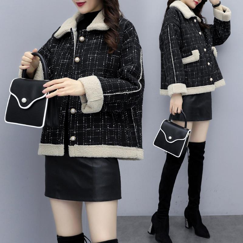 羊羔毛外套女秋冬季百搭2019新款羊羔绒小香风短款小个子洋气加厚