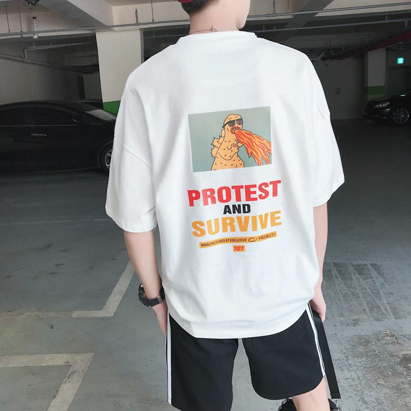港风2019新款ins超火的趣味印花短袖男女韩版宽松纯棉半袖情侣T恤