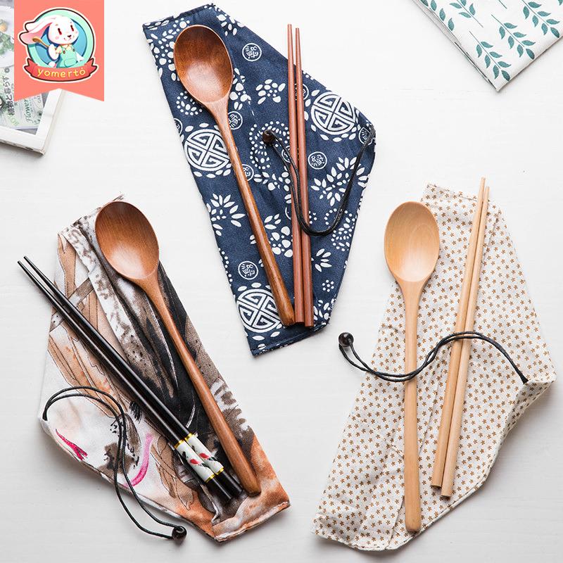 创意木质日式和风筷子小木勺子三件套学生便携式可爱餐具套装家用
