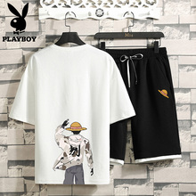 Playboy Flagship Summer Suit Men's Korean Edition Fashion, Leisure and Handsome Teenagers'Clothes Men's Short Sleeve T-shirt