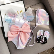 Ins popular children's swimwear women's bright fabric lovely South Korean girl Mermaid swimwear hot spring bow