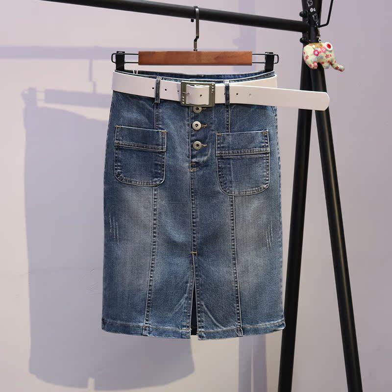 牛仔裙女夏季2018新款韩版中长款单排扣高腰显瘦弹力半身裙包臀裙
