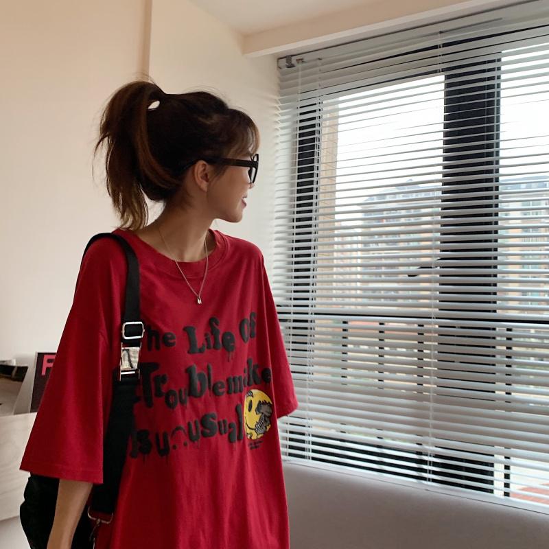 实价实拍短袖t恤ins潮中长款夏季宽松情侣装体恤韩版上衣-麟熙服饰-