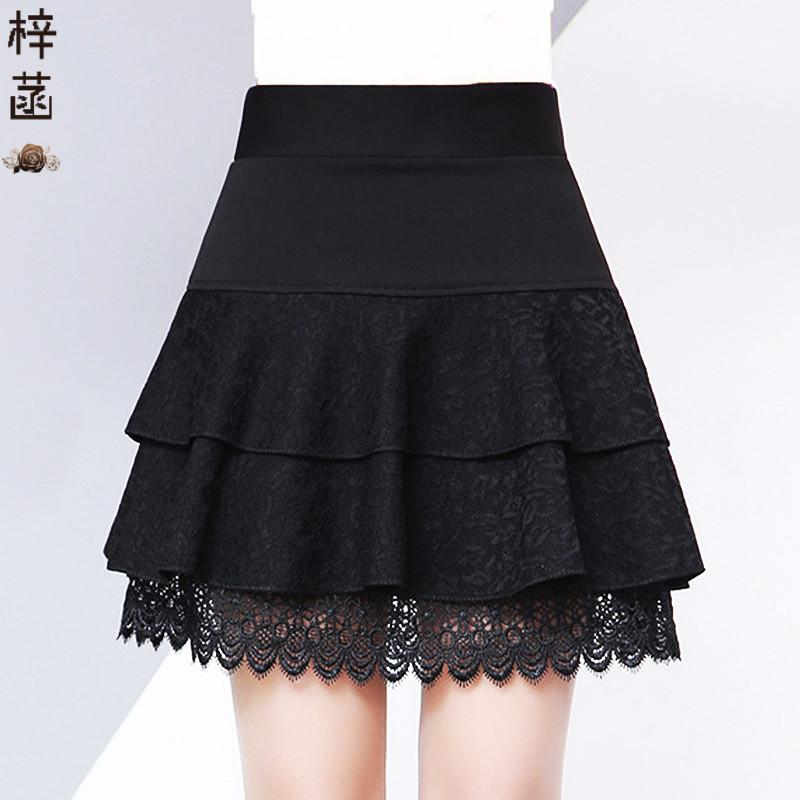 黑色蕾丝短裙中年妈妈半身裙秋冬打底裙女双层蛋糕防走光裤裙厚款