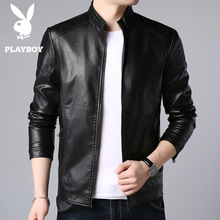 Playboy men's leather 2019 new autumn and winter Korean fashion leather jacket winter coat men's plush and thickened