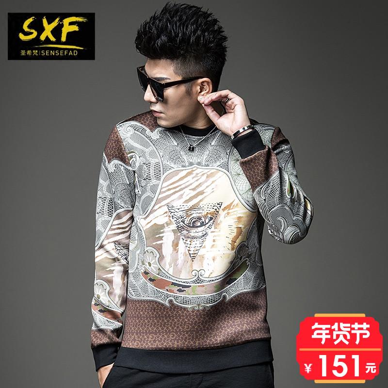 SXF圣希梵男士卫衣 秋冬新款个性印花套头上衣时尚帅气潮牌卫衣男