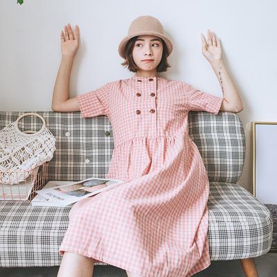 回忆森林  2018夏日系格子短袖连衣裙女复古文艺宽松学生百搭长裙
