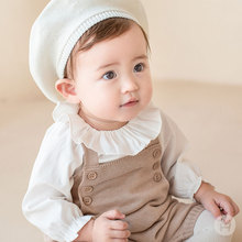 现货韩国ki1品婴儿荷te女宝宝甜美百搭白色翻领打底衫春秋装