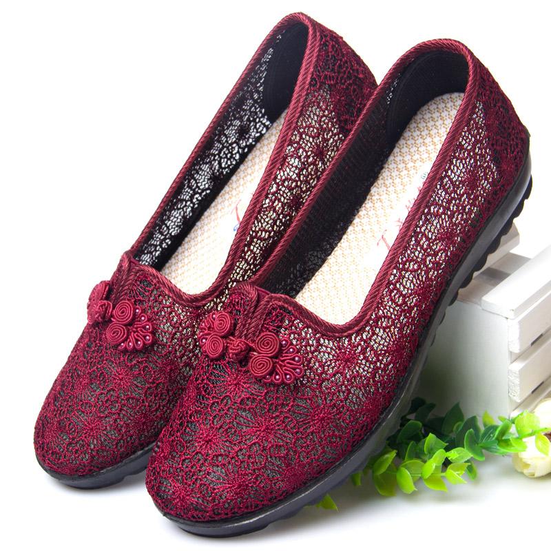 夏天老北京布鞋女2021新款妈妈老人鞋夏老年凉鞋奶奶夏季文艺鞋子