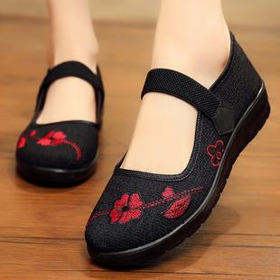 老北京布鞋旗舰店官方正品中老年人女鞋闰月妈妈鞋软底老人奶奶鞋