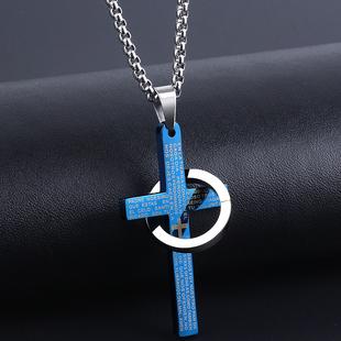 简约十字架男士项链吊坠女韩版潮人钛钢学生挂坠个性装饰品潮百搭