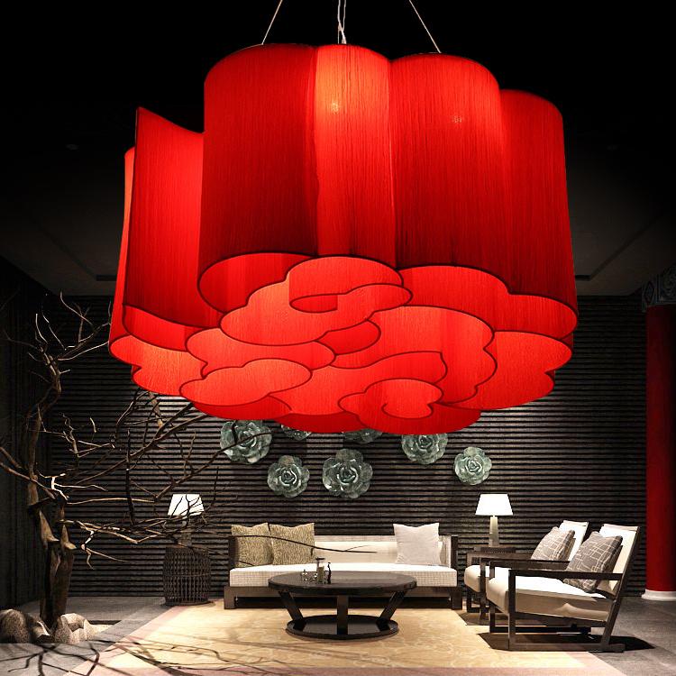 古典灯具中国风 新中式吊灯餐厅 红色布艺祥云灯饭店火锅店仿古灯-升图中式灯馆