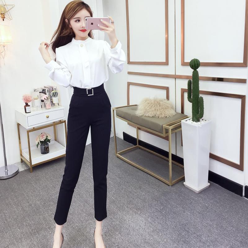 2019春季新款韩版气质长袖一粒扣衬衫上衣+高腰小脚九分长裤套装