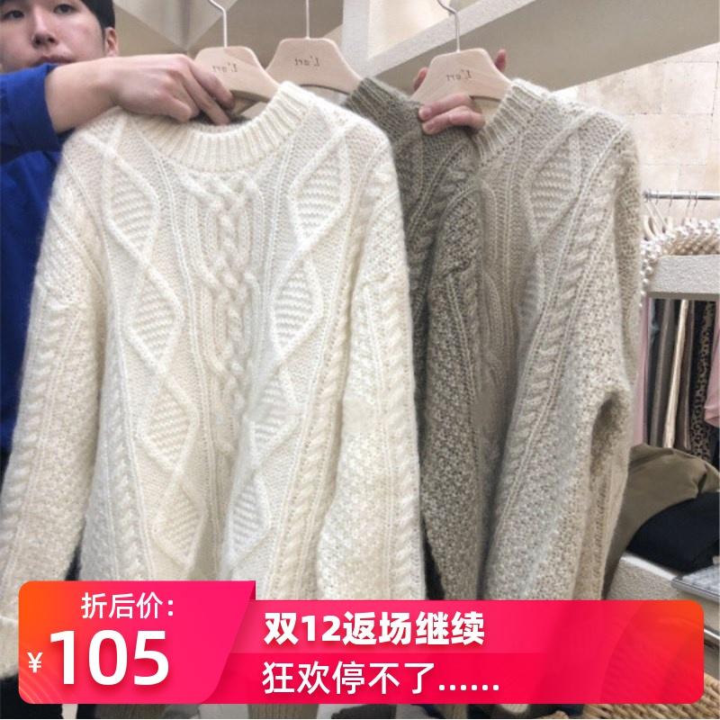 2019秋冬新款韩版超火网红套头麻花毛衣女慵懒风套头宽松针织衫
