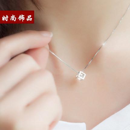 简约气质吊坠925银项链魔方锁骨链女日韩时尚甜美配饰品生日礼物