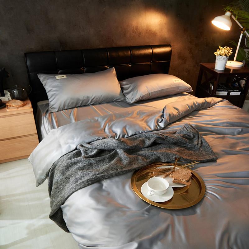 点击查看商品:裸睡纯色冰丝四件套床上水洗真丝1.5米简约网红款床单被套1.8m