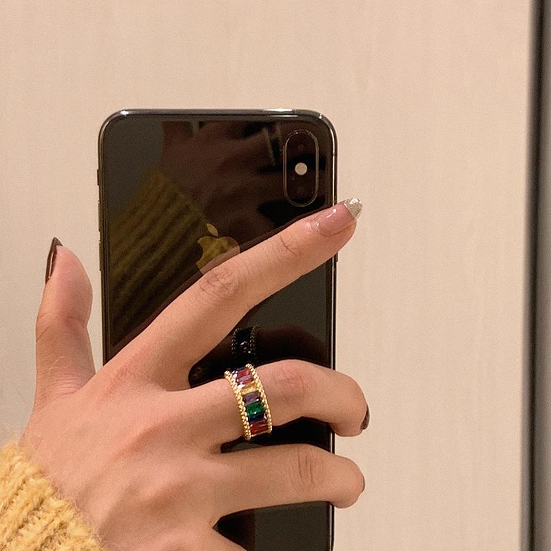 彩虹戒指女时尚个性ins潮日式轻奢夸张食指戒冷淡风指环小众设计