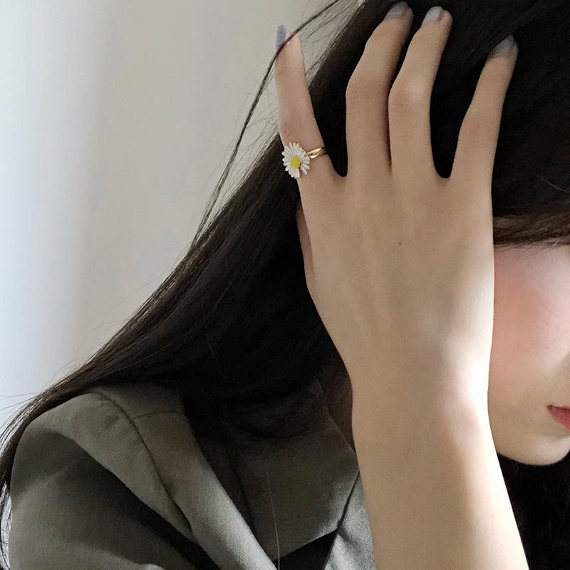 小雏菊冷淡风戒指网红开口小众设计食指戒女时尚个性ins百搭尾戒