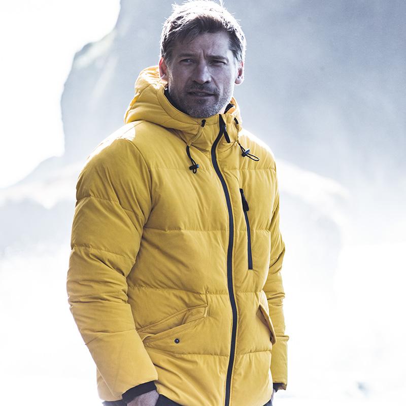 AK男装 冬季新款都市特工户外运动连帽防风保暖男士羽绒服外套