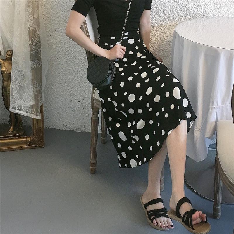 实拍实价 新款chic赫本复古波点气质雪纺中长裙高腰半身裙-IN LOVE 韩系-