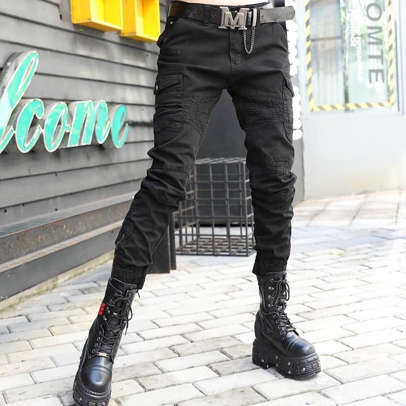 欧洲站2021秋季女装新款黑色显瘦休闲裤瘦腿裤小脚裤哈伦裤长裤潮