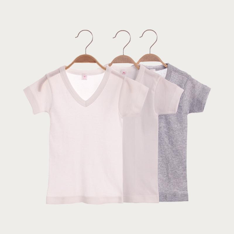 男童白色t恤短袖纯棉夏季儿童中大童白色T恤短袖演出服半袖内衣