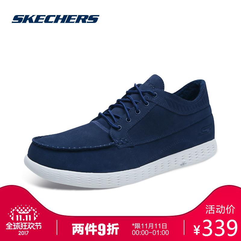 Skechers斯凯奇男鞋轻质休闲帆船鞋 加绒毛里保暖中帮休闲鞋53692