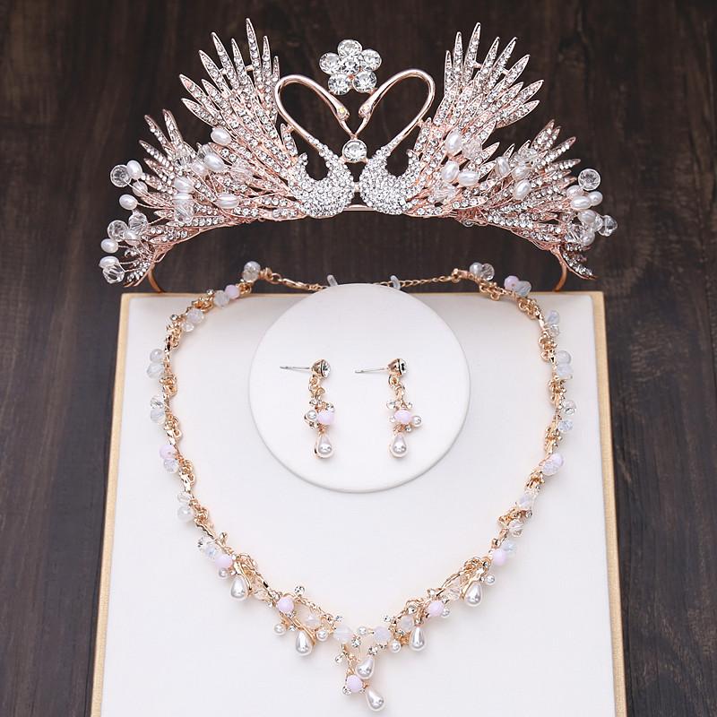 新娘皇冠头饰2020新款大气公主王冠超仙结婚婚纱配饰品三件套装