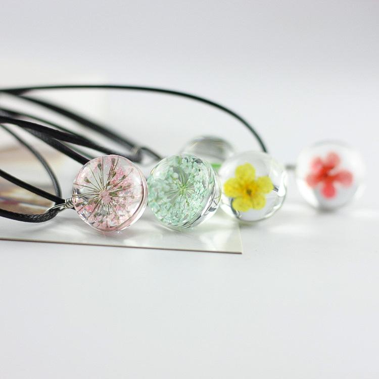 「花语」蒲公英干花毛衣链生日礼物送女友植物标本水晶玻璃球项链