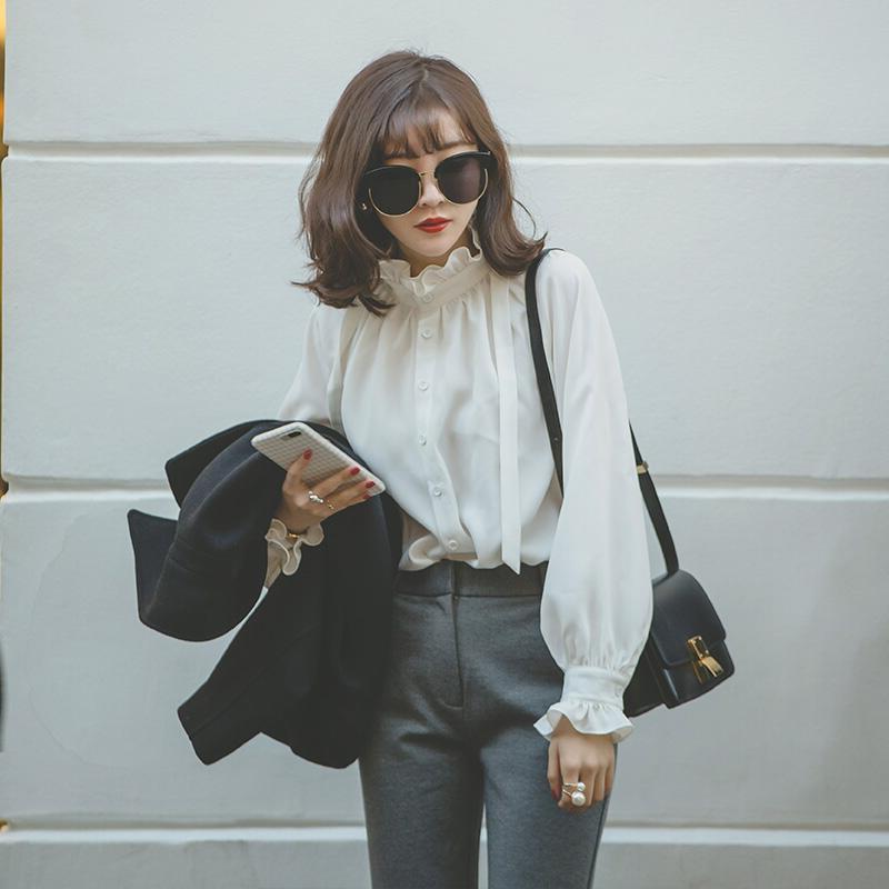宫廷风复古荷叶边木耳领雪纺打底衬衫秋款女装长袖花边立领白衬衣