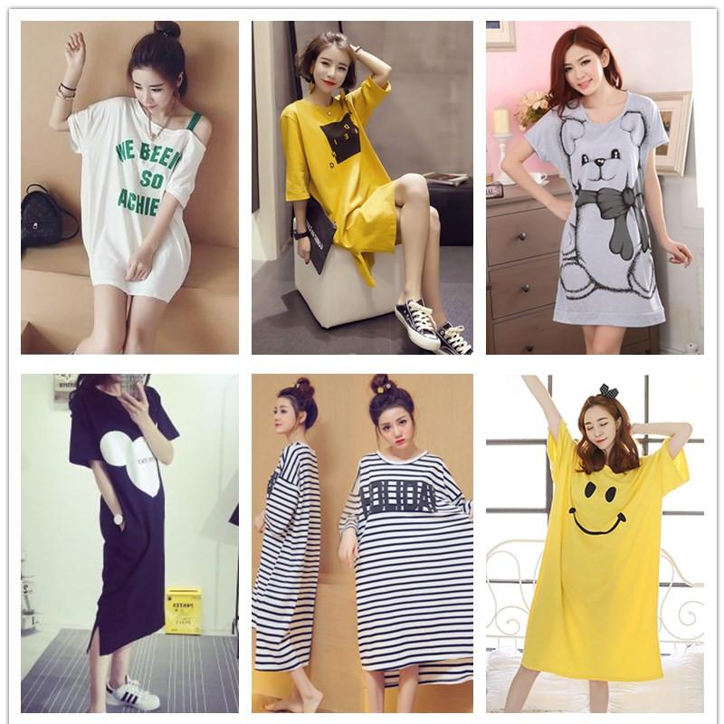睡裙女夏可爱韩版睡衣清新短袖学生可外穿公主卡通宽松中长款日系