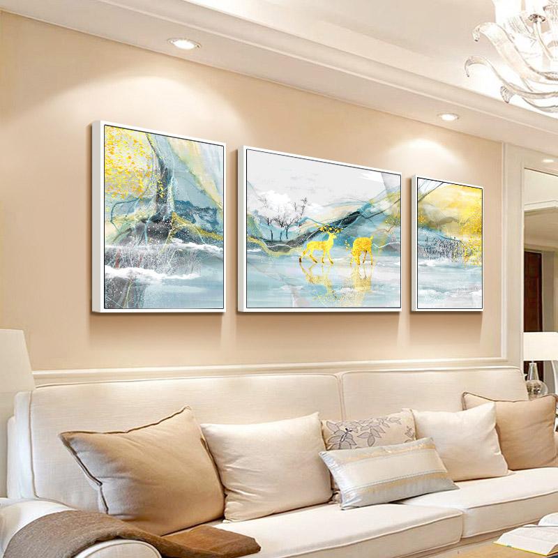 客厅装饰画现代简约沙发背景墙面壁画大气轻奢挂画北欧麋鹿三联画