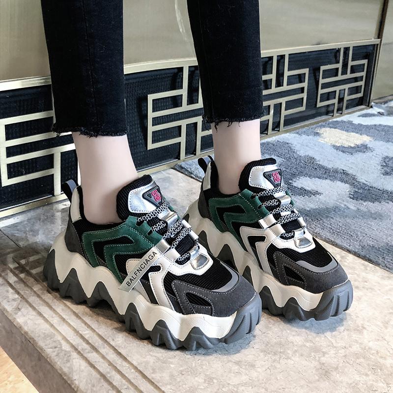 老爹鞋女ins潮春季2020新款女鞋爆款网红超火波浪厚底松糕运动鞋