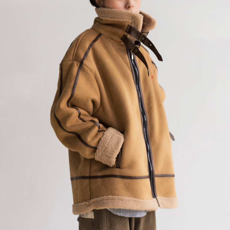 【羊羔毛加绒】复古宽松立领夹克BF风帅气麂皮短款机车服外套男女