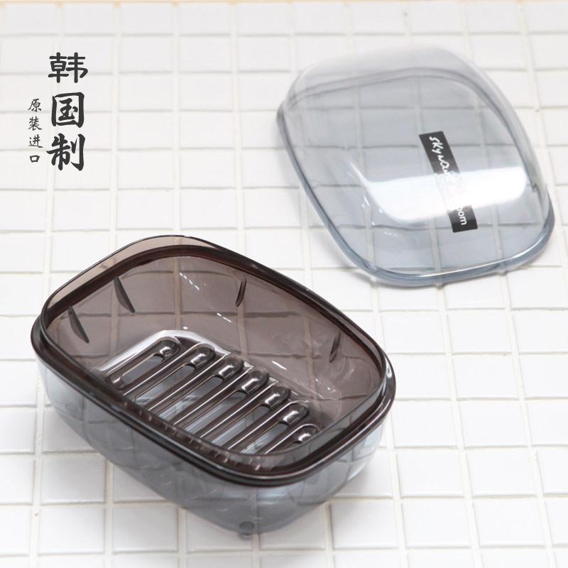 韩国进口大号肥皂盒带盖沥水皂盒浴室双层香皂盒家用简约洗衣皂盒