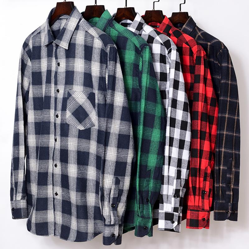 春季长袖衬衫男士青年蓝色格子衬衣 青年学生韩版修身休闲潮男装