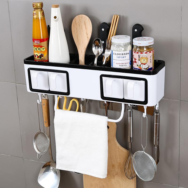 厨房置物架壁挂免打孔收纳架刀架挂件厨具用品调味品调料架子多用