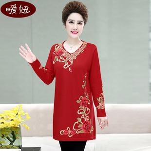 中老年女秋冬装加肥加大码毛衣40-50-60岁妈妈装中长款针织连衣裙