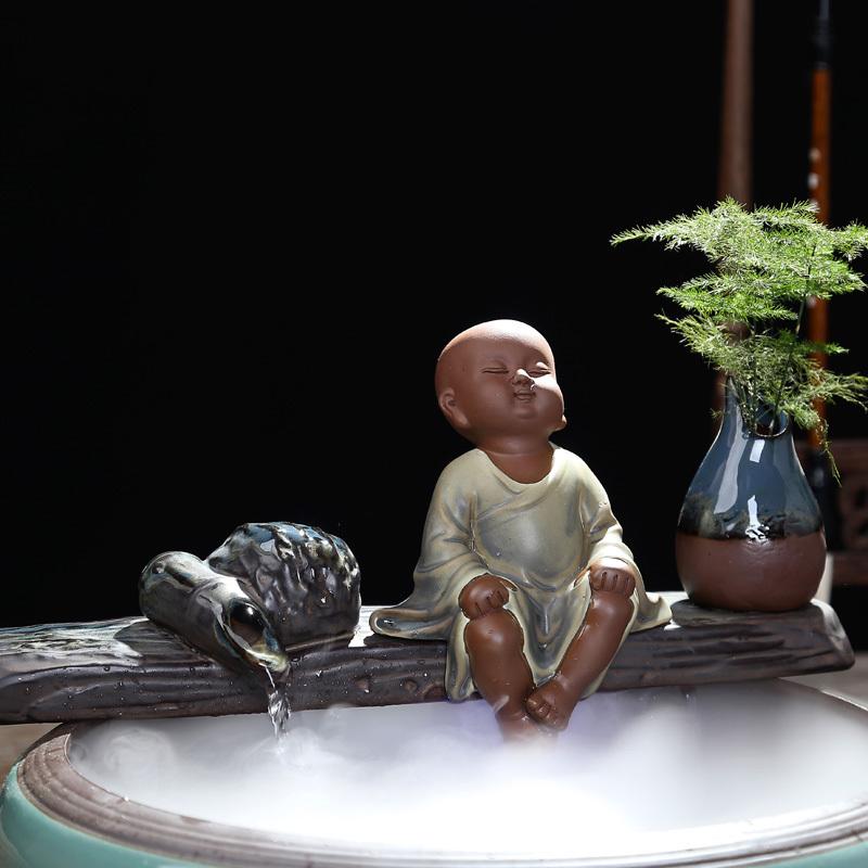 陶瓷流水摆件养鱼缸客厅办公室加湿器沙弥风水招财桌面流水器喷泉