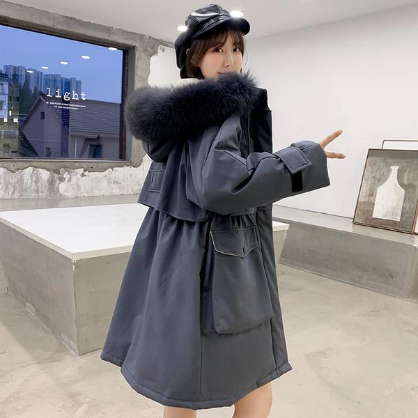实拍19冬季新款羽绒服女韩版时尚宽松大毛领加厚中长款棉服外套 -