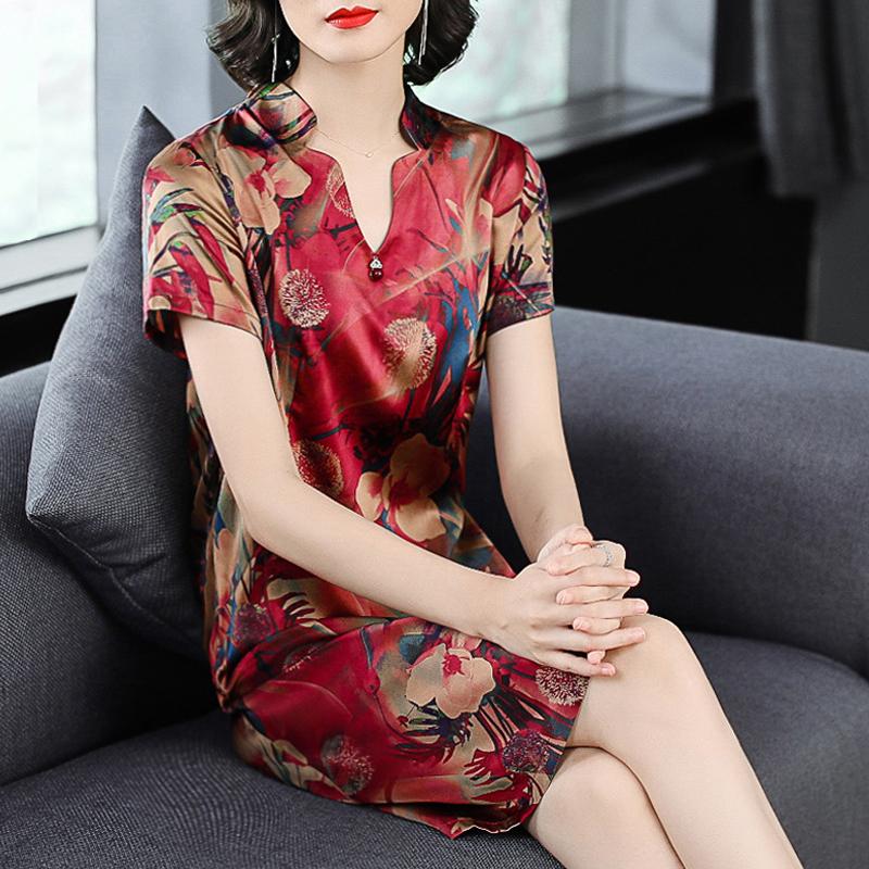 反季杭州真丝连衣裙宽松大码V领妈妈莨绸香云纱桑蚕丝绸女装裙子
