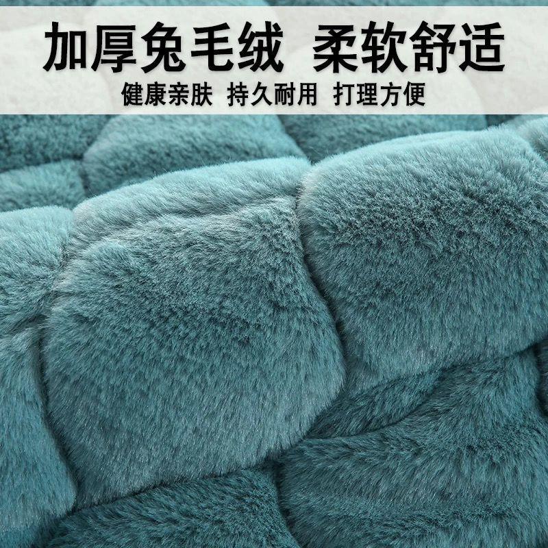 冬季毛绒沙发垫套装加厚防滑欧式沙发坐垫罩巾纯色法兰绒全包全盖