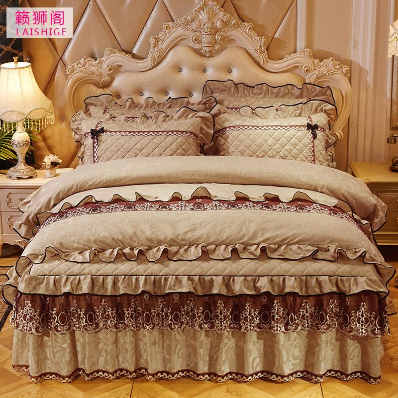 欧式天鹅绒床裙式四件套夹棉加厚床罩4件套秋冬保暖被套床上用品-籁狮阁羽皇专卖店