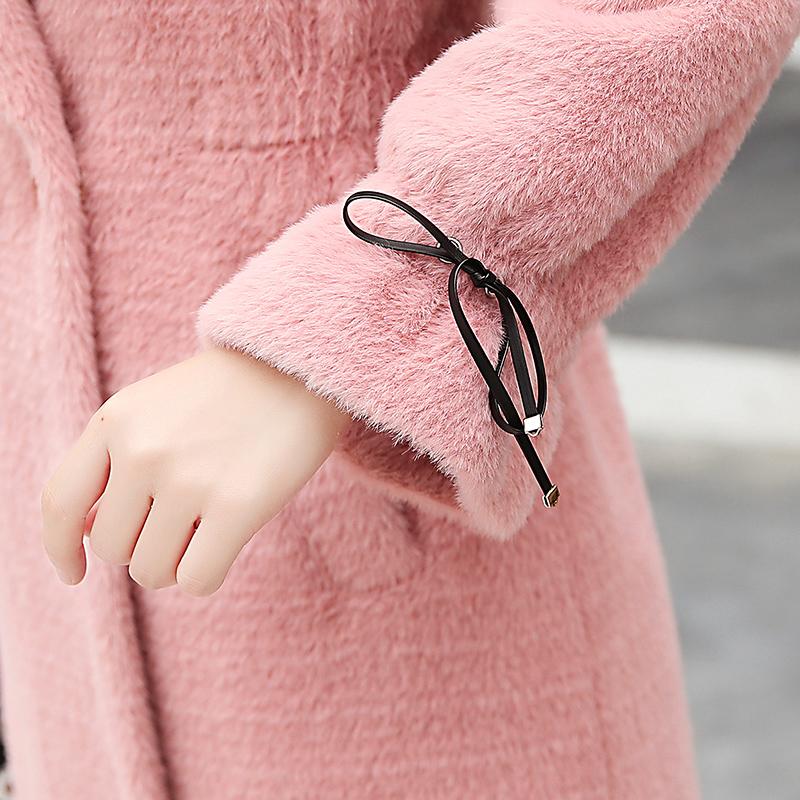 仿水貂绒外套女中长款2018新款时尚韩版秋冬季流行小个子呢子大衣