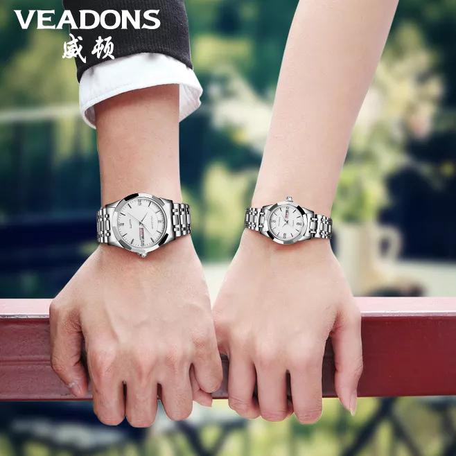 2019新款威顿情侣手表防水休闲钢带时尚潮流石英表简约男士腕表